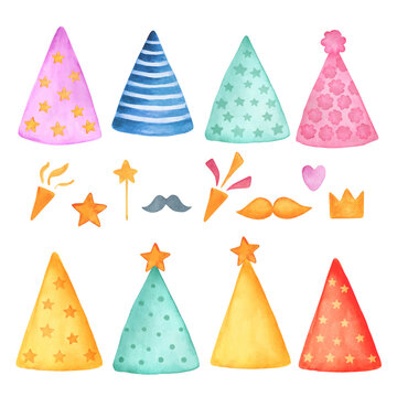 Party hats vector set. Colored caps carnival on white