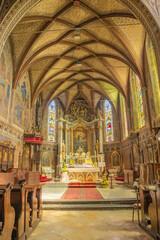 ROZNAVA, SLOVAKIA - APRIL 19, 2014: The presbytery of cathedral.