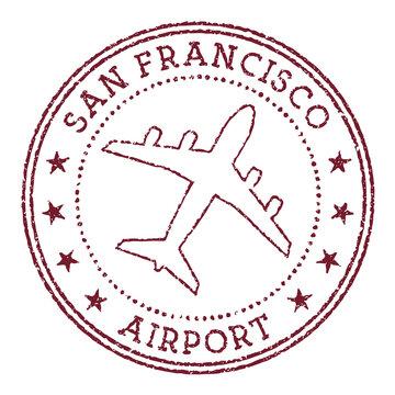 San Francisco Airport stamp. Airport of San Francisco round logo. Vector illustration.