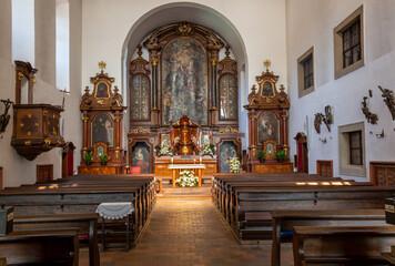 PRAGUE, CZECH REPUBLIC - OCTOBER 14, 2018: The nave of baroque Capuchins church.
