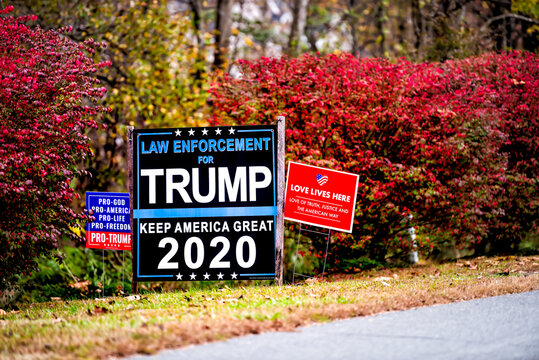 Washington, USA - October 27, 2020: Law enforcement for Donald Trump, Keep America Great 2020 slogan yard sign during presidential election in Virginia