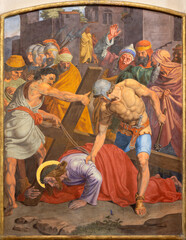 VIENNA, AUSTIRA - OCTOBER 22, 2020: The fresco Fall of Jesus undwer the cross as part of Cross way station in the church of St. John the Nepomuk by Josef Furlich (1844 - 1846).