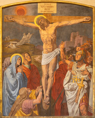 VIENNA, AUSTIRA - OCTOBER 22, 2020: The fresco of Crucifixion as part of Cross way station in the church of St. John the Nepomuk by Josef Furlich (1844 - 1846).