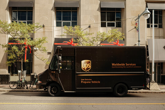 UPS delivery truck parked on a street in Ottawa, ON, Canada on October 8, 2020.
