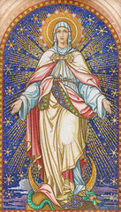 VIENNA, AUSTIRA - OCTOBER 22, 2020: The mosaic of Immaculate Conception in church Pfarrkirche Kaisermühlen.