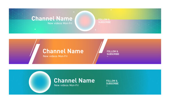 Youtube modern neon streaming service channel banner template set of three in gradient colours, motivational, productivity, tutorial design elements. social media platform resources. graphic motifs.