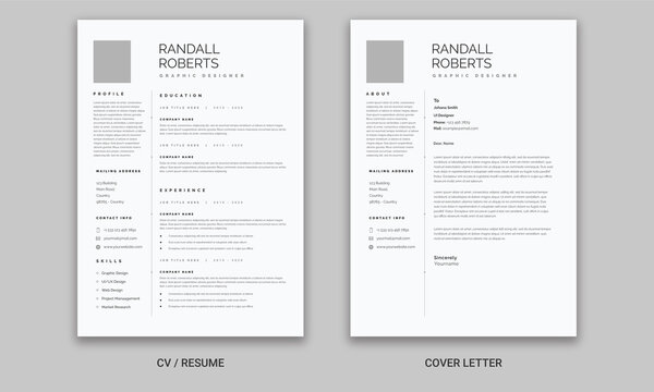 Resume and Cover Letter, Minimalist resume cv template,