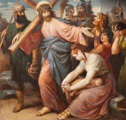 VIENNA, AUSTIRA - OCTOBER 22, 2020: The painting Jeus meets the women of Jerusalem in church St. Johann der Evangelist by Karl Geiger (1876).