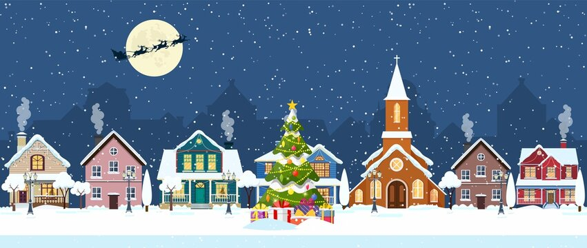 happy new year and merry Christmas winter old town street. christmas town city seamless border panorama. Santa Claus with deers in sky above the city. Vector illustration in flat style