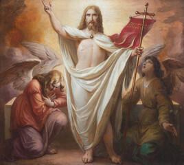 VIENNA, AUSTIRA - OCTOBER 22, 2020: The Resurrecton of Jesus in church St. Johann der Evangelist by Karl Geiger (1876).