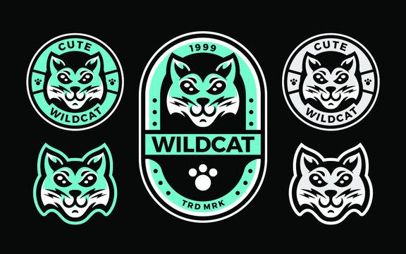 set of wildcat cute head mascot template