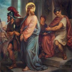 VIENNA, AUSTIRA - OCTOBER 22, 2020: The painting of Jesus before Pilate in church St. Johann der Evangelist by Karl Geiger (1876).