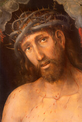 VIENNA, AUSTIRA - OCTOBER 22, 2020: Paint of Jesus Christ with the crown of thons (Ecce Homo) in the church Rochuskirche by Emerich Betgthold (1937) as copy of Lucas Cranach (1537).
