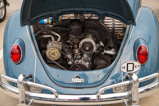 Vintagecar beetle open hood show engine