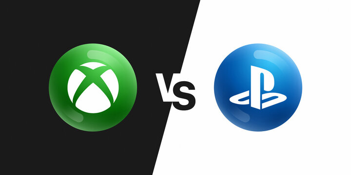 XBox Series X VS PlayStation 5 3D Vector Icons On Black And White Background. XBox VS PlayStation Video Game Consoles