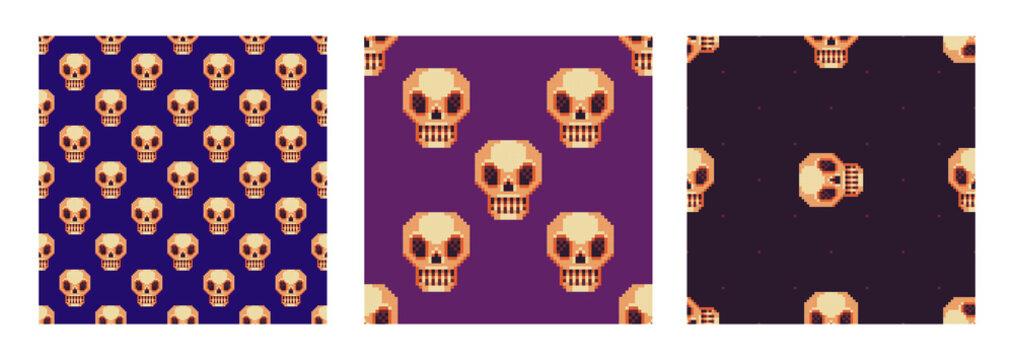 Set of skull seamless patterns. Pixel art style. Vector abstract geometric design.