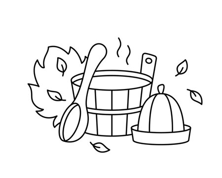 Sauna or bathhouse, line art emblem for coloring. Bath tools for Russian banya. Black illustration of wooden tub, ladle, hat, broom, leaves, hot steam. Contour isolated vector icon, white background
