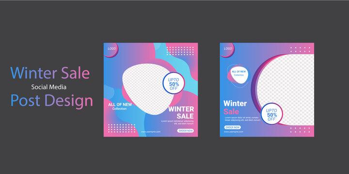 Winter Sale Social Media Post Template Design,