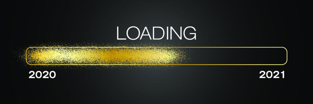 loading bar in gold with the message loading 2021 over dark background- new year concept - represents the new year 2021