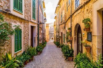 Narrow street alley of Mallorca, Spain