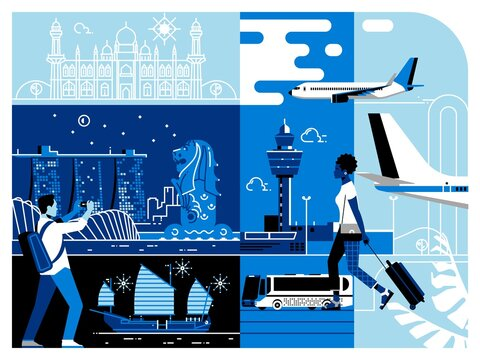 Traveling Asia. Singapore Tourist Attractions. Singapore city skyline. Cityscape with all famous buildings. Vector illustration