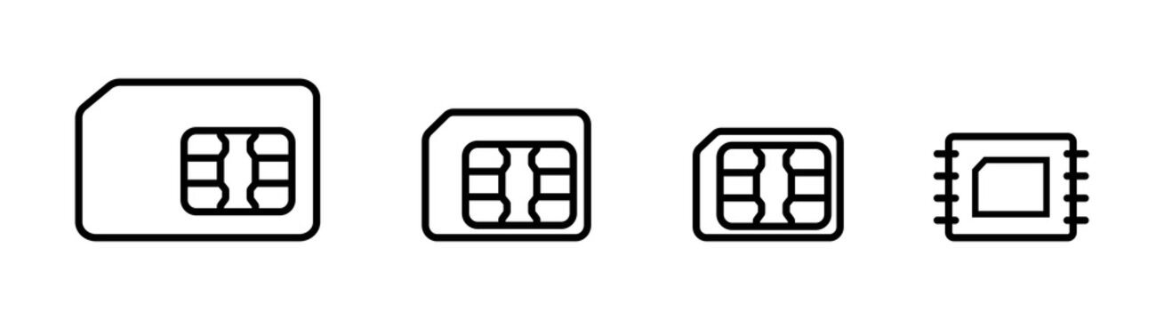 Set sim card, mobile telephone card line icons