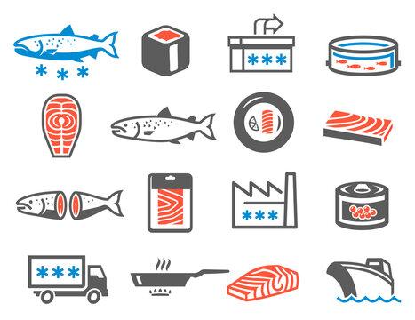 Salmon farming icon set, aquaculture and domestication of fish