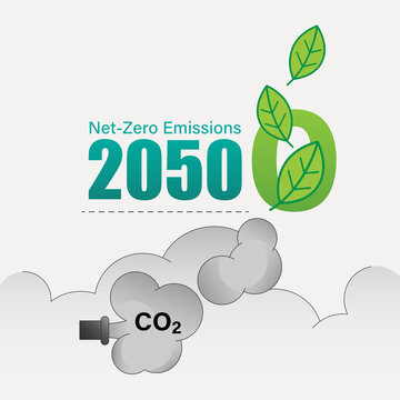 Achieving CO2 net-zero emissions by 2050 typographic design. Vector illustration outline flat design style.