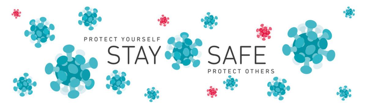 Stay safe Covid-19 Coronavirus infection infographic logo icons symbol white background banner