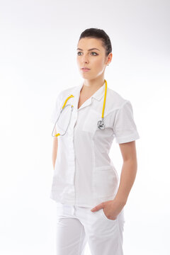 young doctor in white and stethoscope