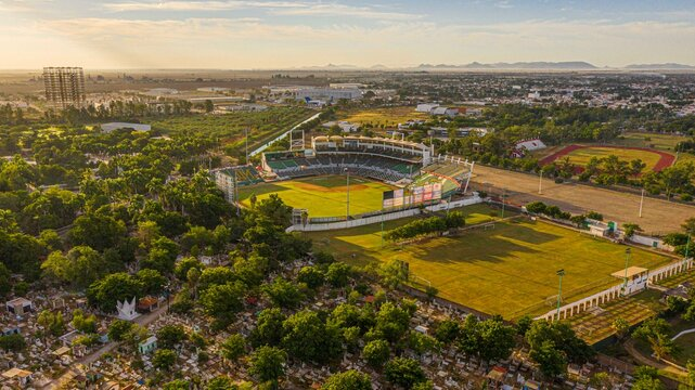 Aerial view of the Emilio Ibarra Almada stadium, home of the professional baseball team Los Cañeros de los Mochis of the Mexican Pacific League on October 30, 2020 in Los Mochis, Sinaloa Mexico ..