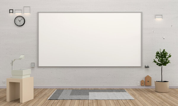 Classroom with whiteboard for mockup, 3D rendering