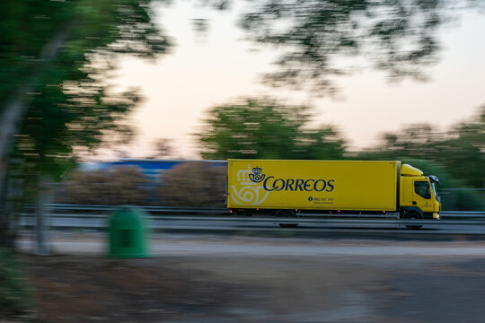 Small truck transporting parcels and letters from Correos España.