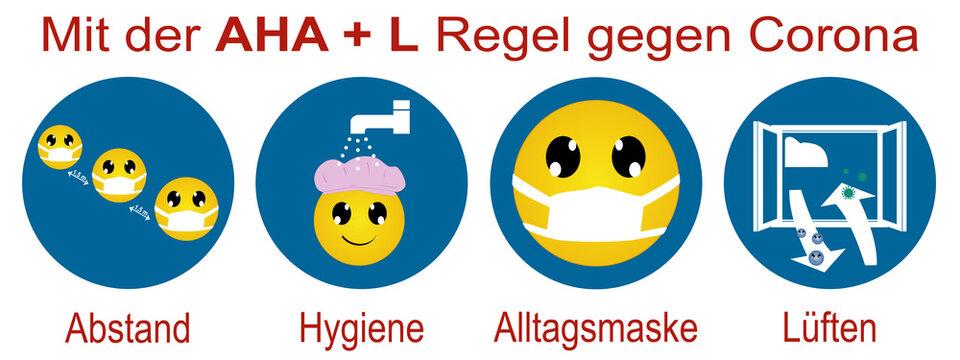 Hinweisschild aus Emoticons mit der AHA + L Regel. Vektordatei
