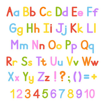 English alphabet. Vector set. Bright color style. Cartoon ABC. Funny hand drawn font. Numbers, lowercase and uppercase letters.