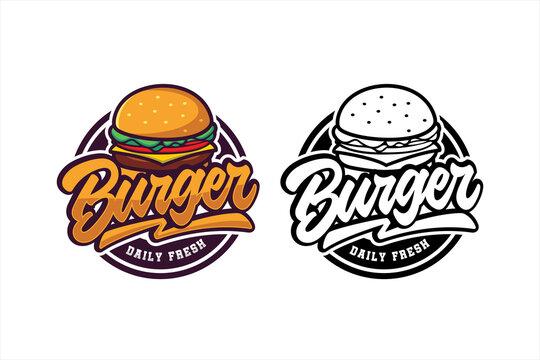 Burger daily fresh vector design logo