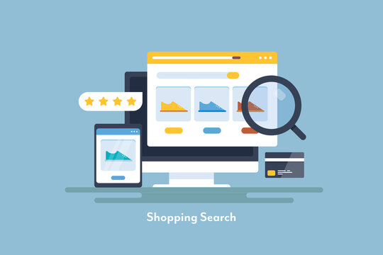 Online shopping, internet ecommerce web store, searching products online, business ecommerce seo concept. Web banner template.