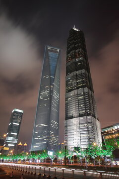Night view of Shanghai Finance and Trade district Pudong Lujiazui skyscrapers with  Jin Mao Tower and  Shanghai World Financial Center in Shanghai, China.
