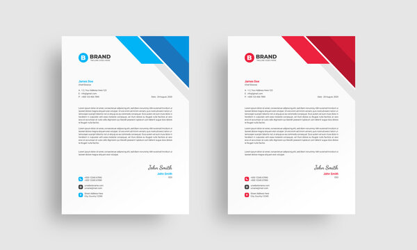 Professional corporate letterhead design template with blue and red color variation. Creative & clean abstract business letterhead design template