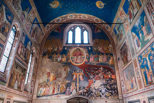 Padua, Italy - August 17 2020: Capella degli Scrovegni Chapel with Fresco in Padua, Italy with Famous Paintings by Giotto