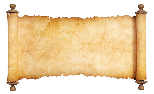 Horizontal vintage scroll with wooden handles. Isolated, clipping path included