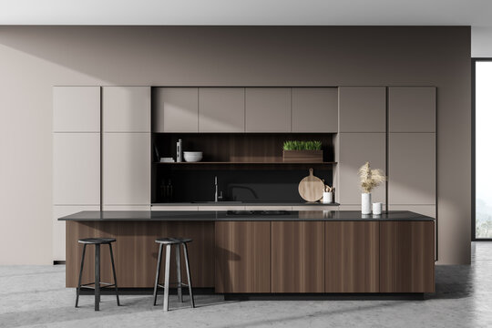 Light gray kitchen interior with bar