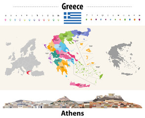 Fototapete - Greece administrative divisions map. Flag of Greece. Athens cityscape. Vector illustration