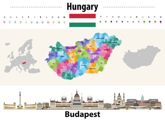 Fototapete - Hungary administrative divisions map. Flag of Hungary. Budapest cityscape. Vector illustration