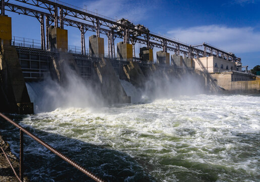 Hydroelectric power plant generates electricity. Construction on the river Nistru.
