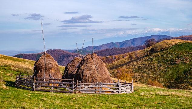 Mountains in the fall season with haystacks, Paltinis area, Sibiu county, Romania