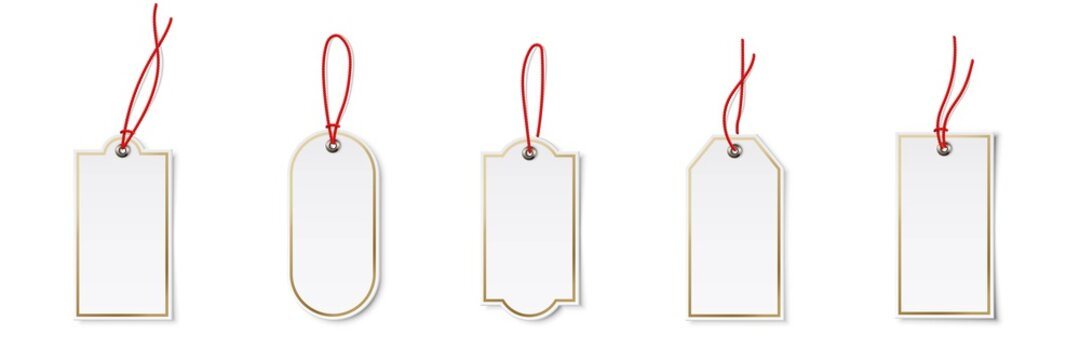 Price or label tags mockup template set. Blank cards with red strings for gifts or sales with different shapes: ellipse, rectangle. Empty stickers with red frames vector illustration