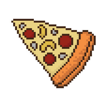 Pixel pizza icon. Colored contour silhouette. Top view. Vector flat graphic illustration. The isolated object on a white background. Isolate.