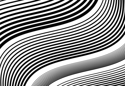 Wavy, waving and undulating, billowy diagonal, skew, tilt and oblique lines, stripes abstract black and white, monochrome design element, background, pattern and texture