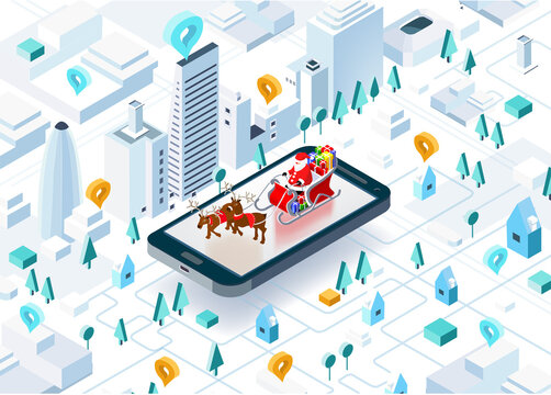 Santa Claus with sleigh full of presents and Reindeer righting in the City. Christmas is coming to town. Isometric illustration